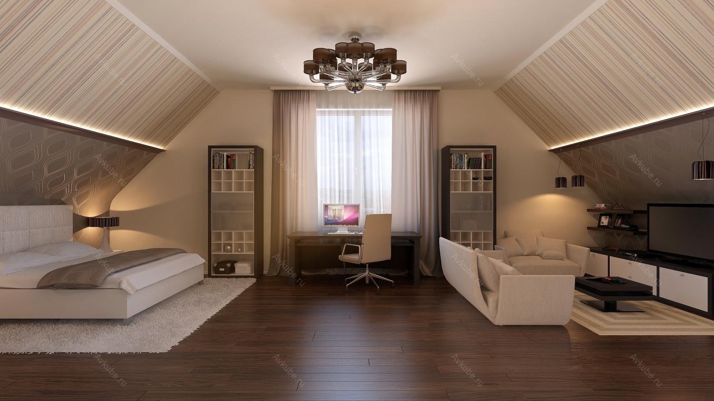Дизайны интерьеров мансардной комнаты