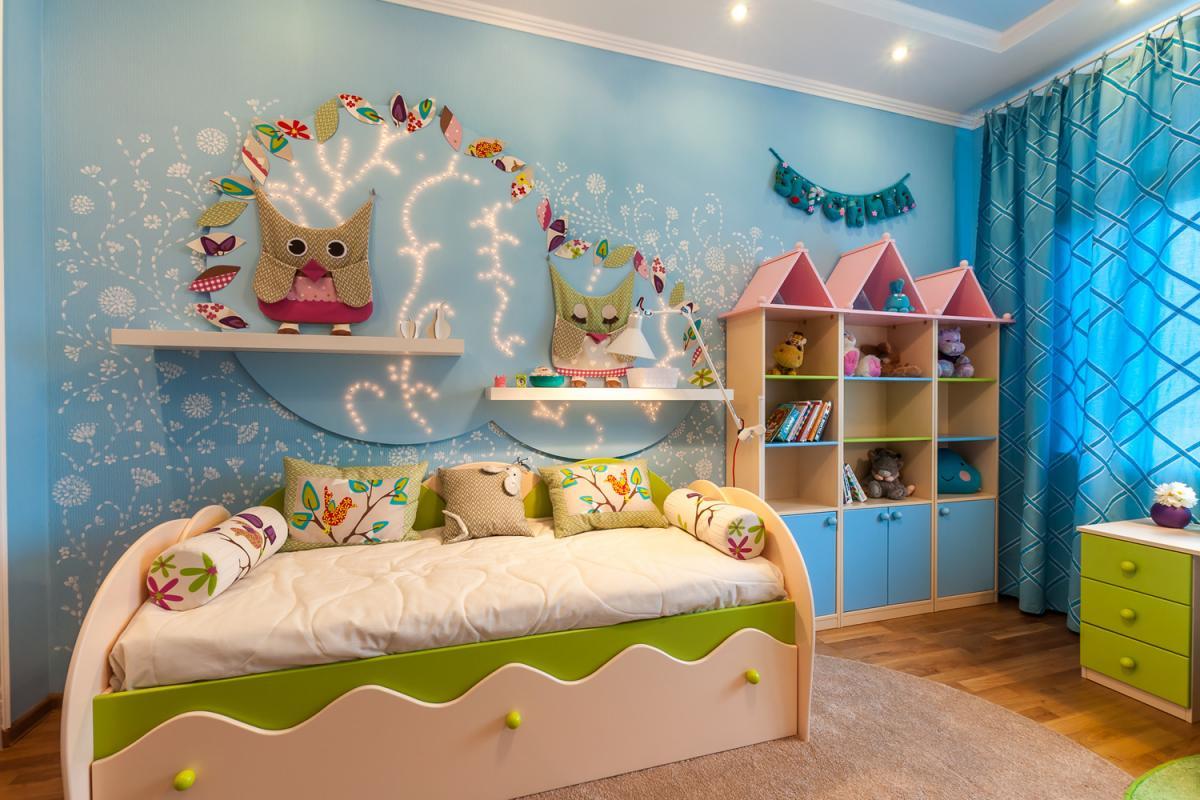 Дизайн стены своими руками в детской комнате 93
