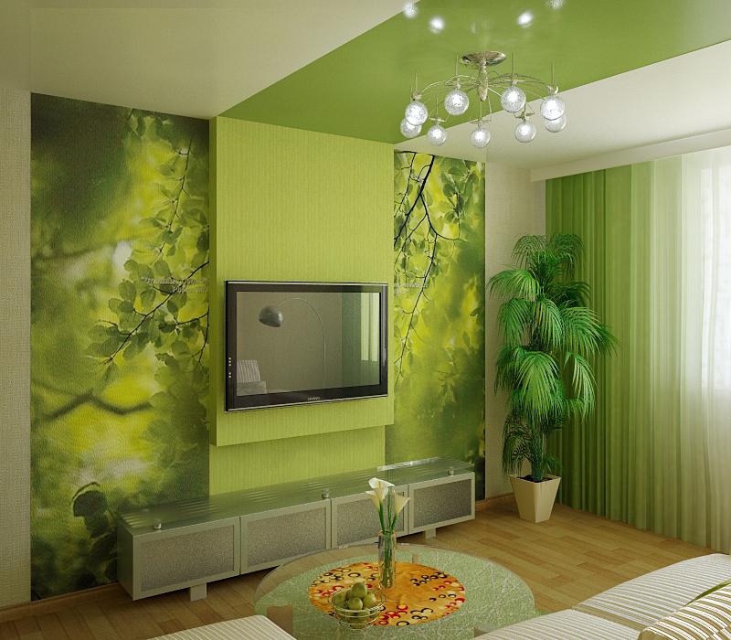 Интерьер гостиной в зеленых тонах фото с камином