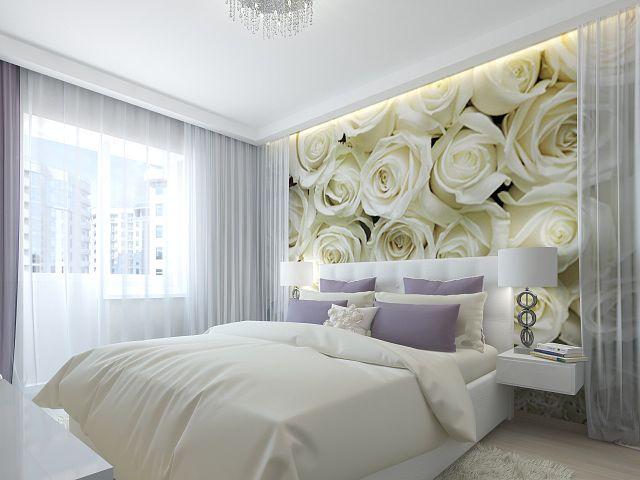 Фотообои с белыми розами в интерьере спальни
