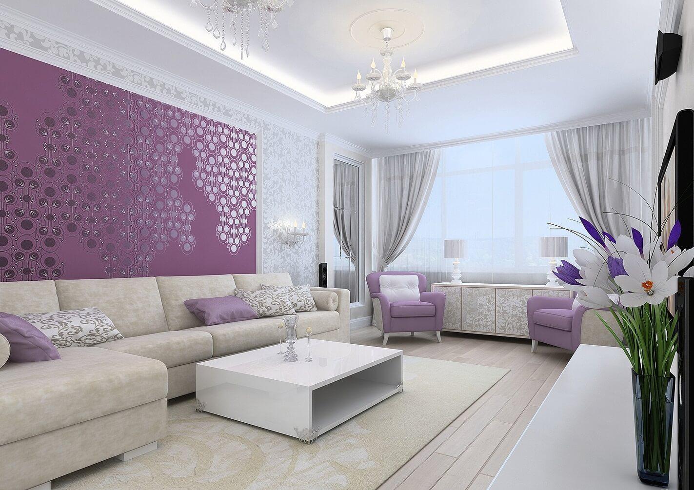Дизайны гостиной с в сиреневом цвете