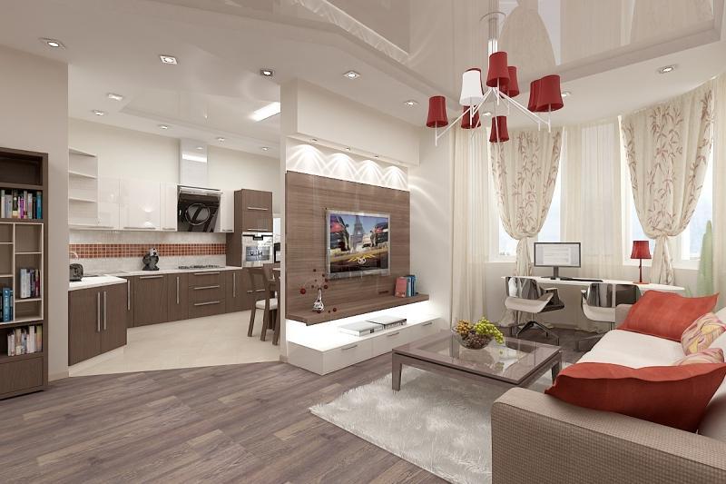 Совмещенная гостиная и кухня дизайн