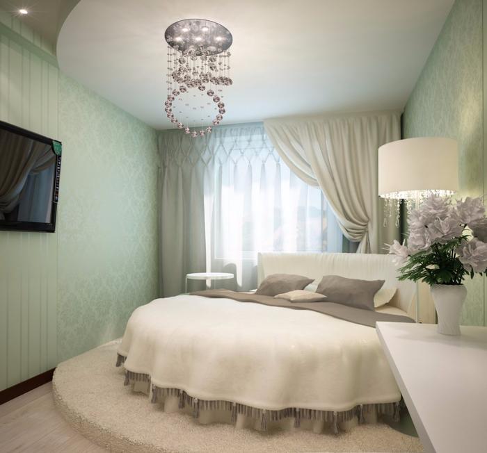 Дизайн спальни с круглой кровать