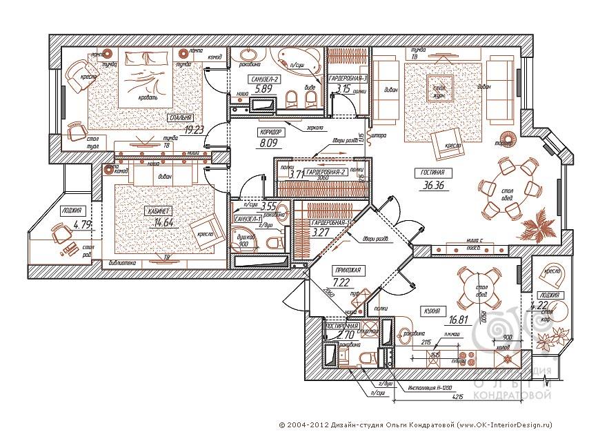 Дизайн интерьера с размерами