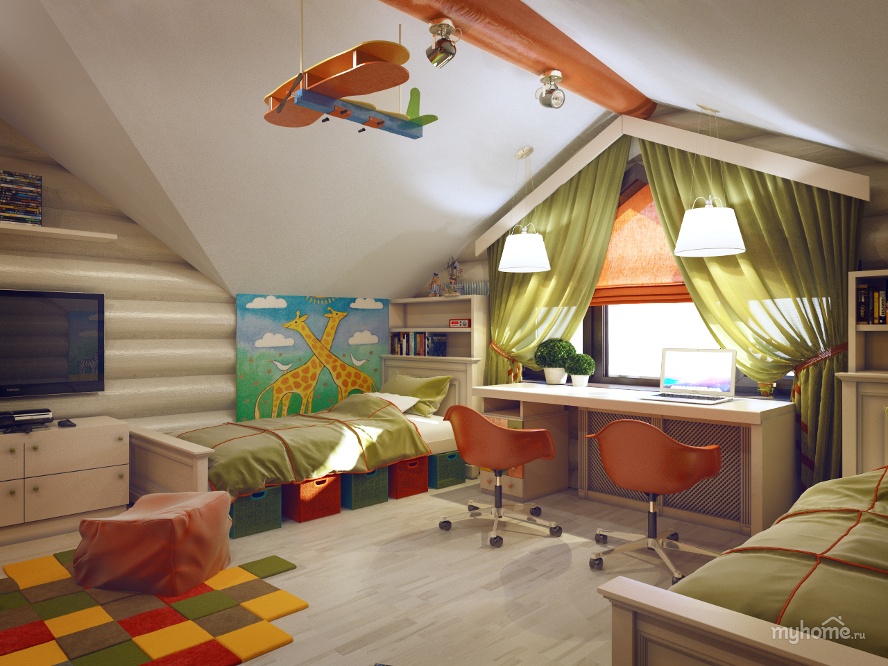 Интерьер детских комнат в деревянном доме фото