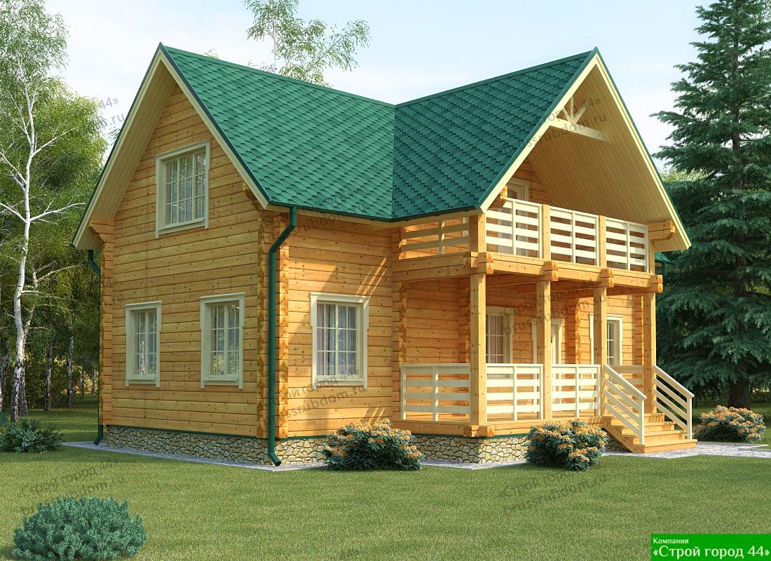 Стандартный дом из бруса, проект, фото.