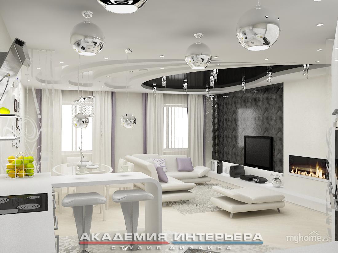 Кухня гостиная белая дизайн