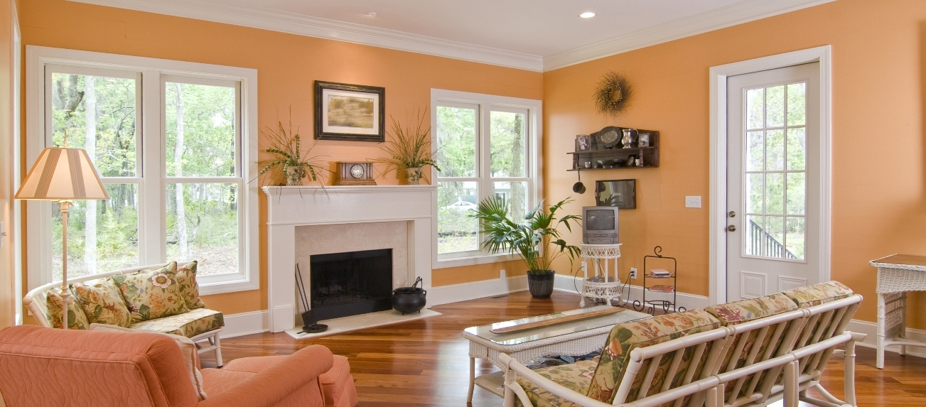 Интерьер гостиной в персиковом цвете фото