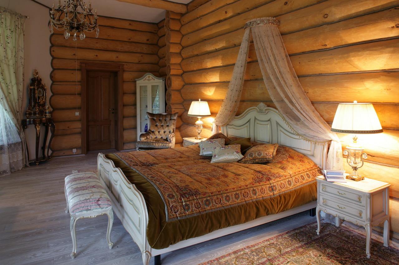 Спальня деревянный дом дизайн