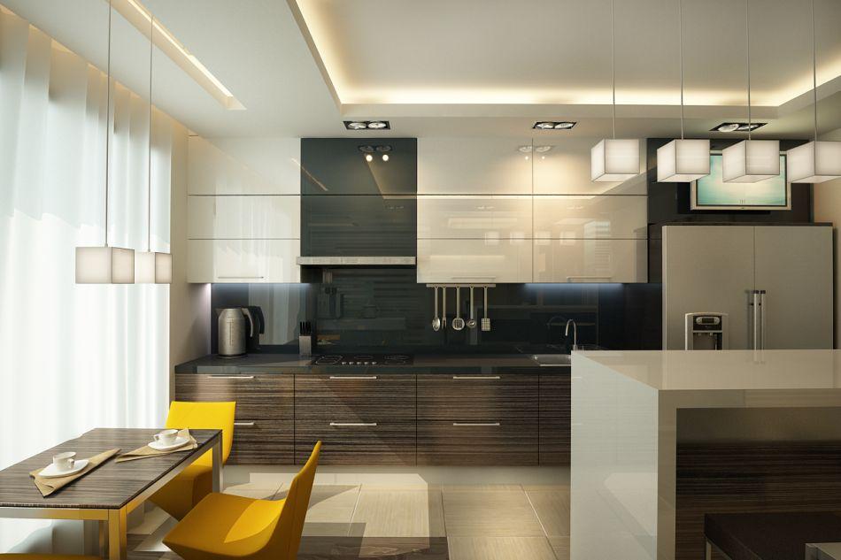 Дизайн интерьера потолка кухни