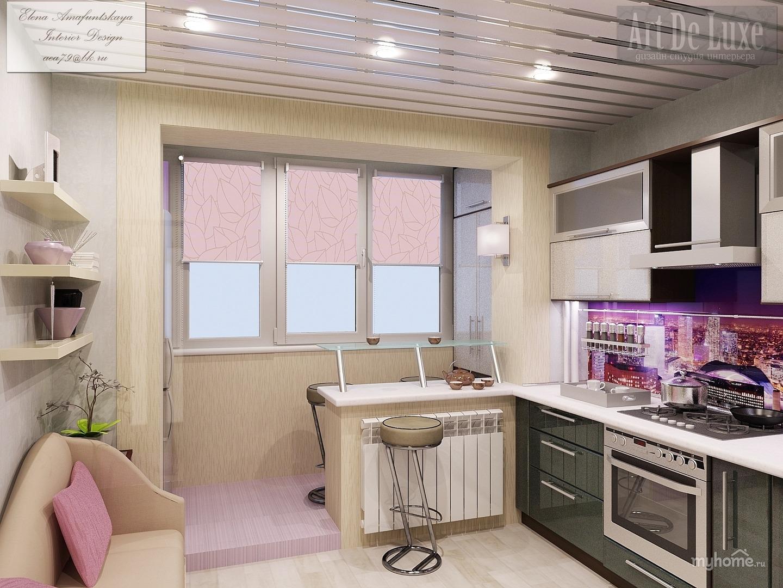 """Фото кухни объединенной с лоджией """" современный дизайн."""