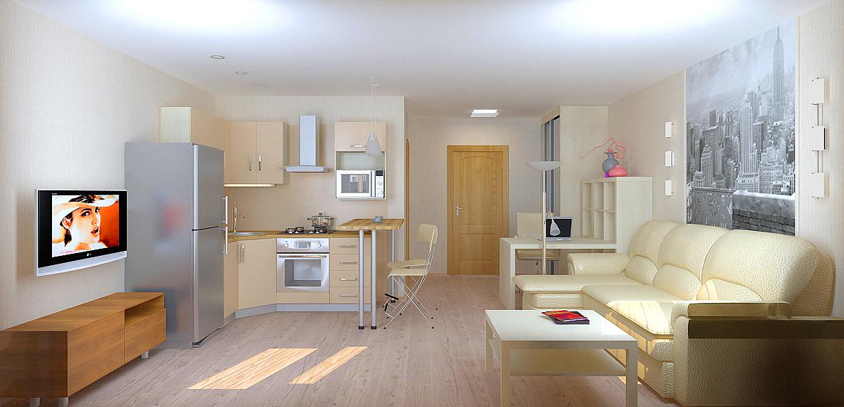 1 комнатная квартира студия дизайн интерьера