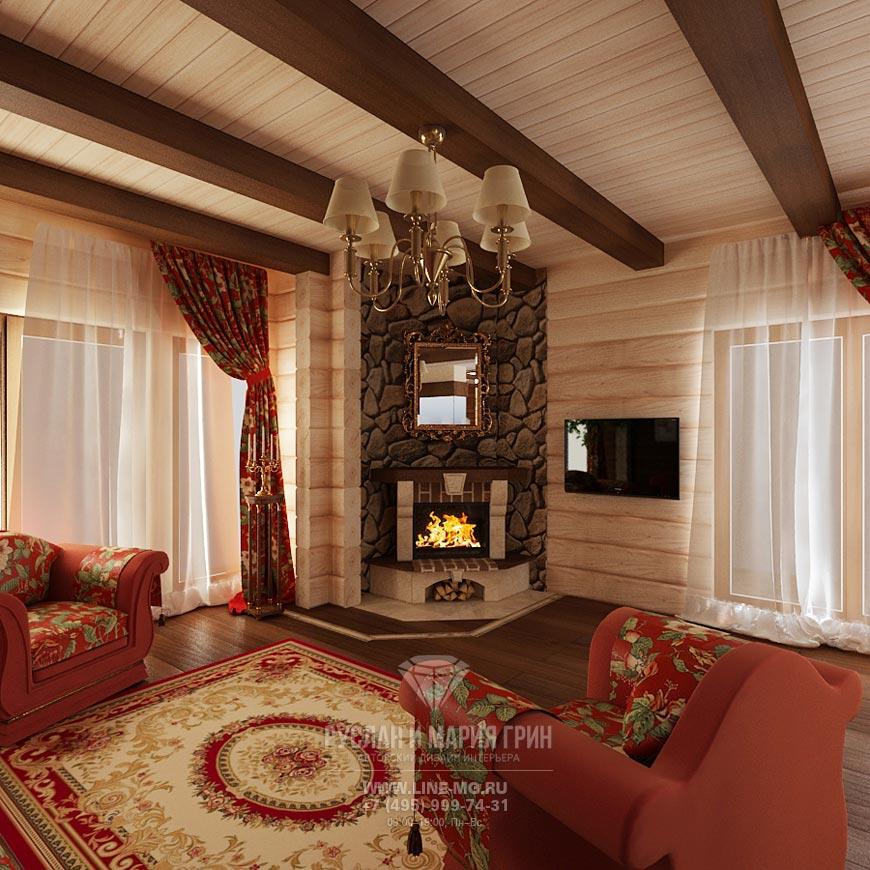 Гостиная в загородном доме с камином дизайн