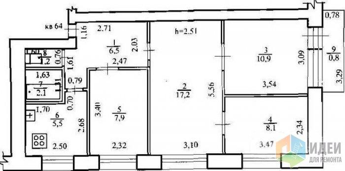 4-х комнатная квартира в хрущевке схема