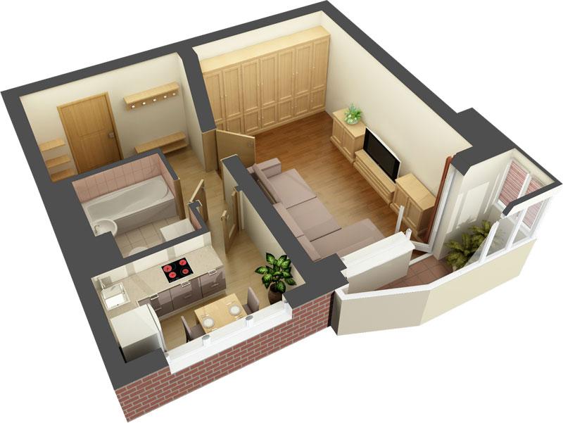 Дизайн типовых однокомнатных квартир
