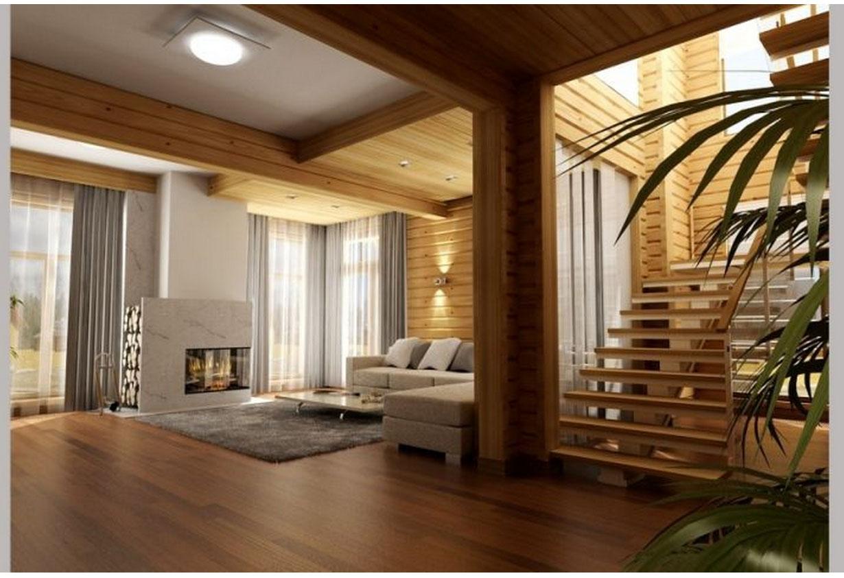414Фото дизайн интерьера дома из клееного бруса