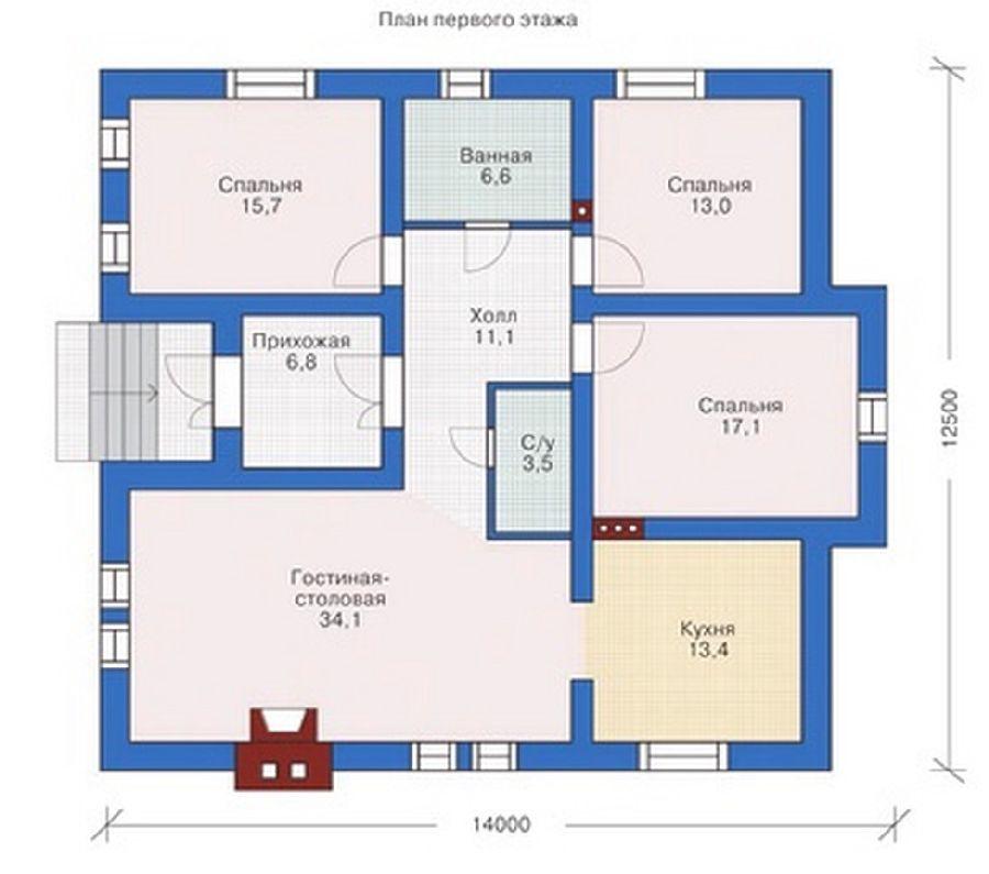 Проекты домов из кирпича схема