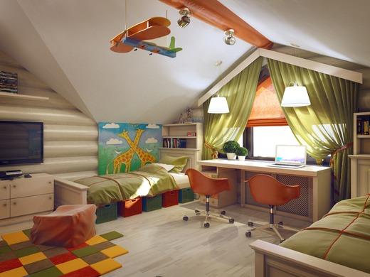 Дизайн детской в доме из оцилиндрованного бревна