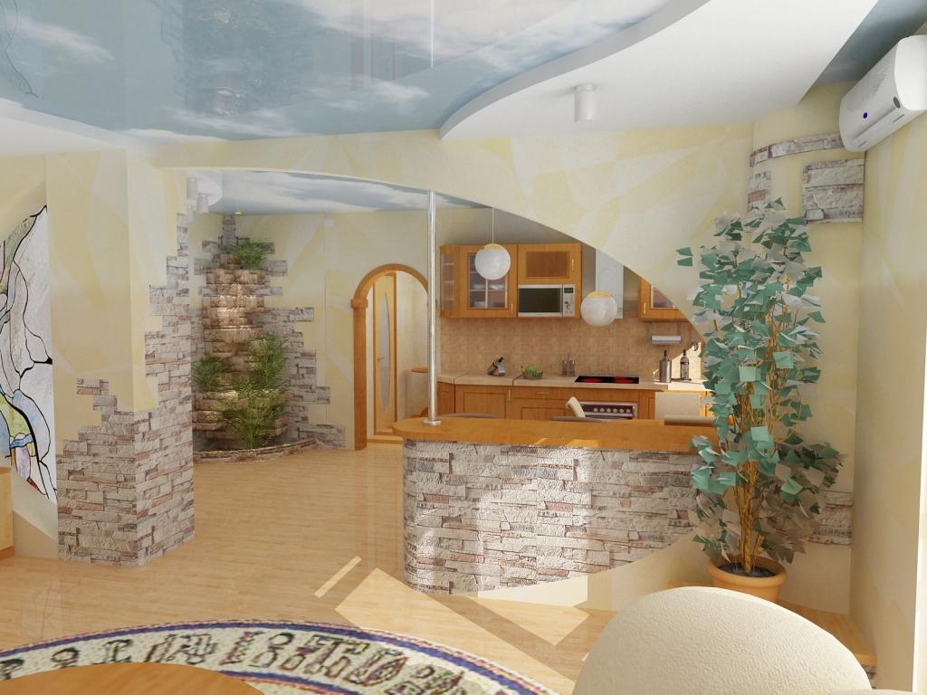 Дизайн отделка кухни гостиной