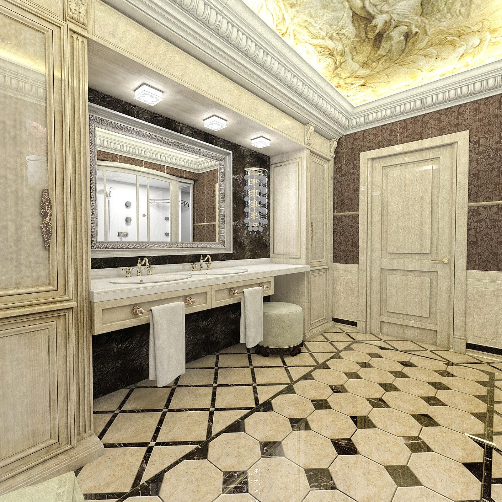 Дизайн интерьера ванной в классике