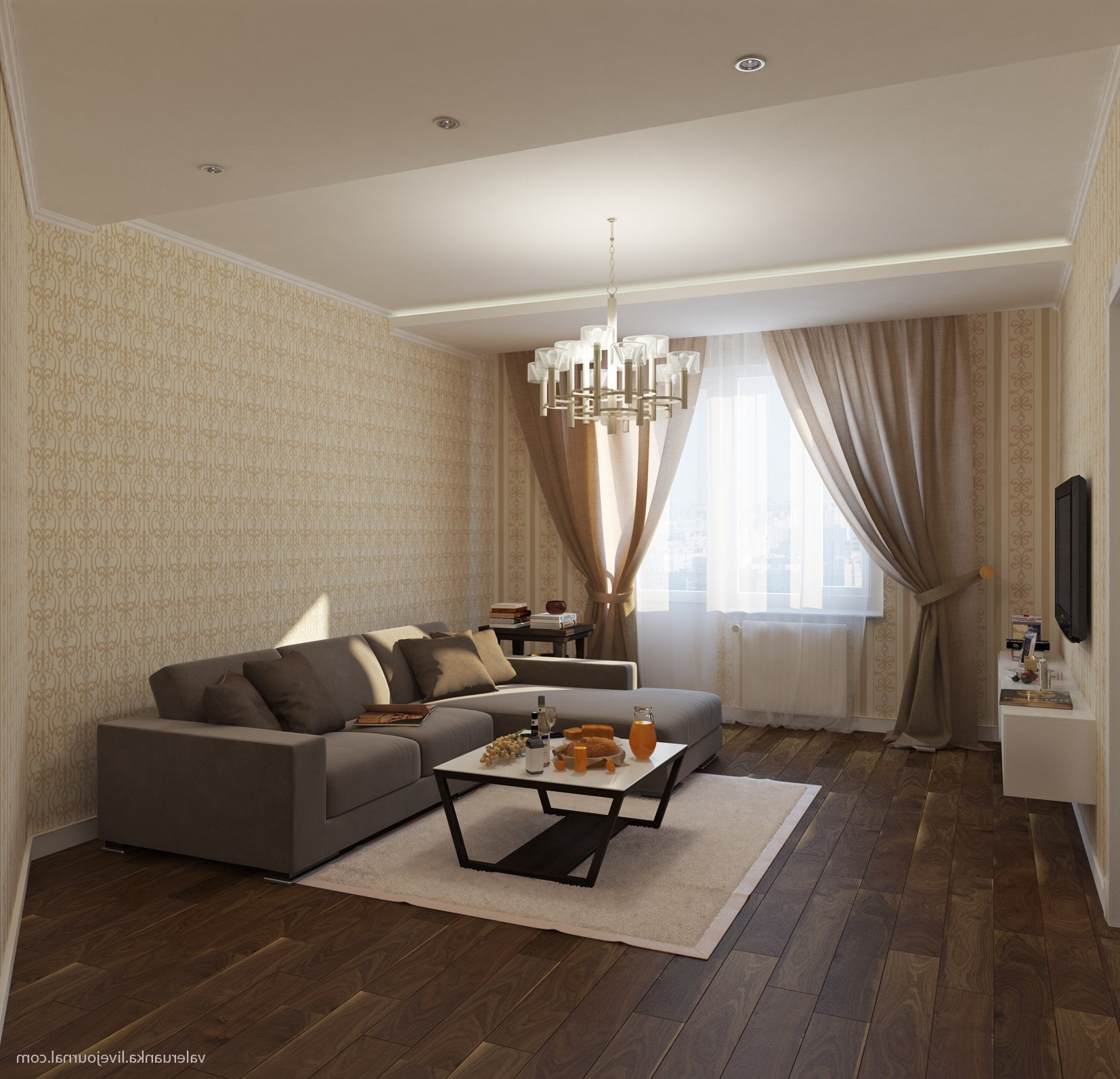 Дизайн бежевого зала