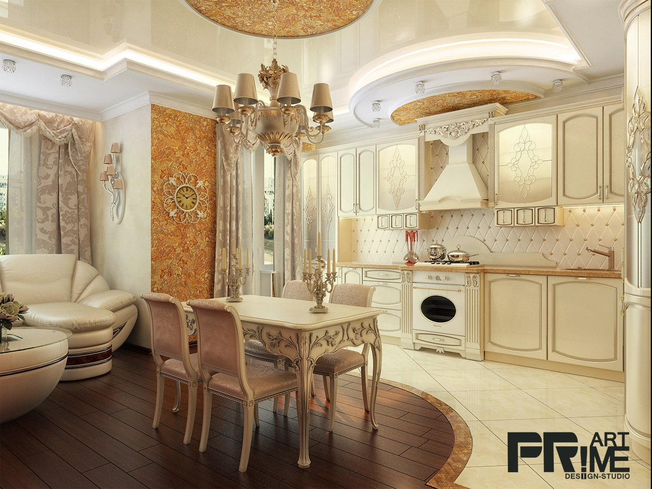 Кухня-студия фото дизайн интерьера в современной классике