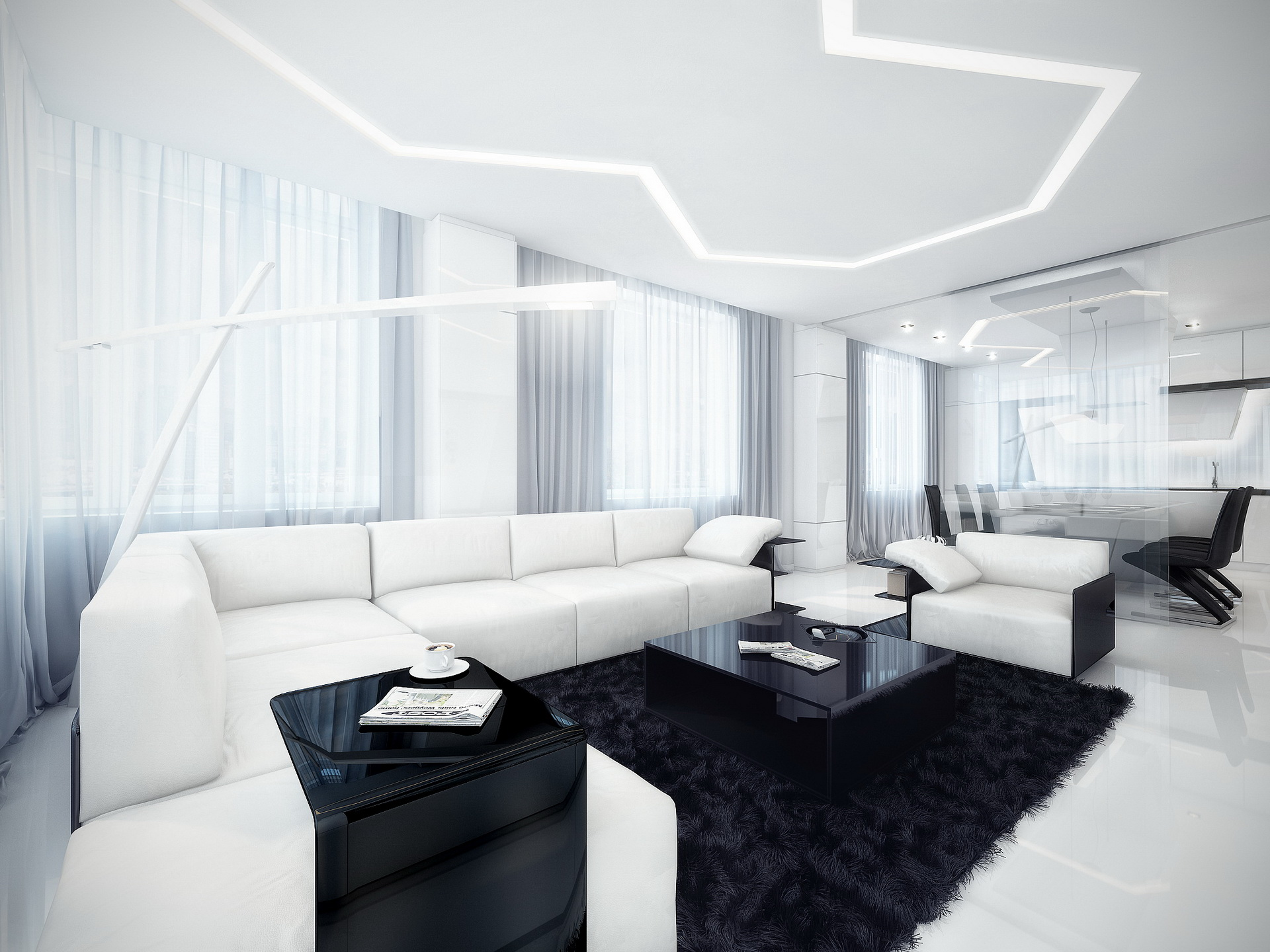 Фото черно-белые дизайны квартир