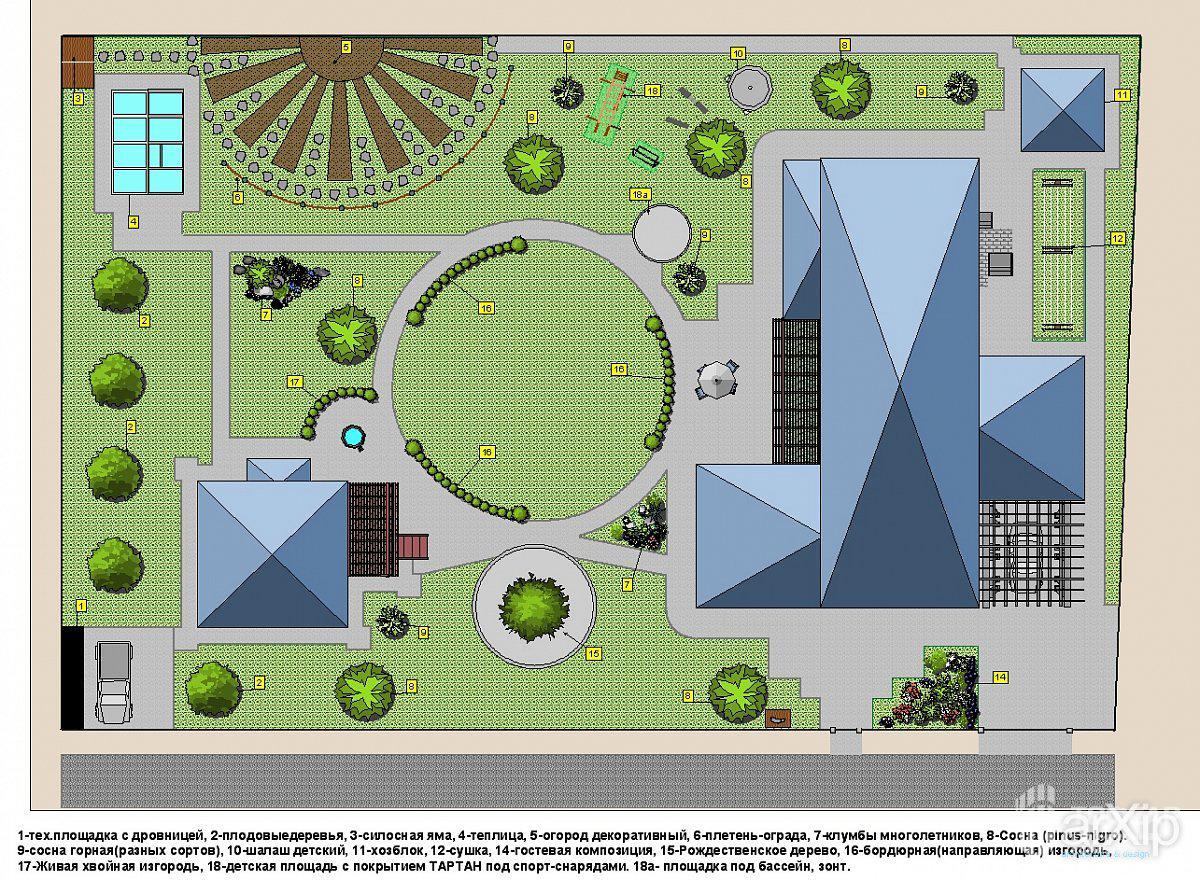 План ландшафтного дизайна участка 10 соток