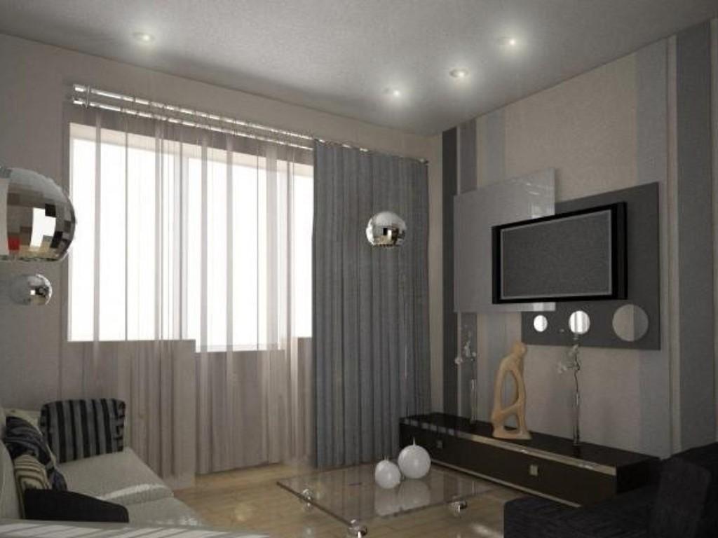 """Дизайн гостиной в хрущевке с балконом """" современный дизайн."""