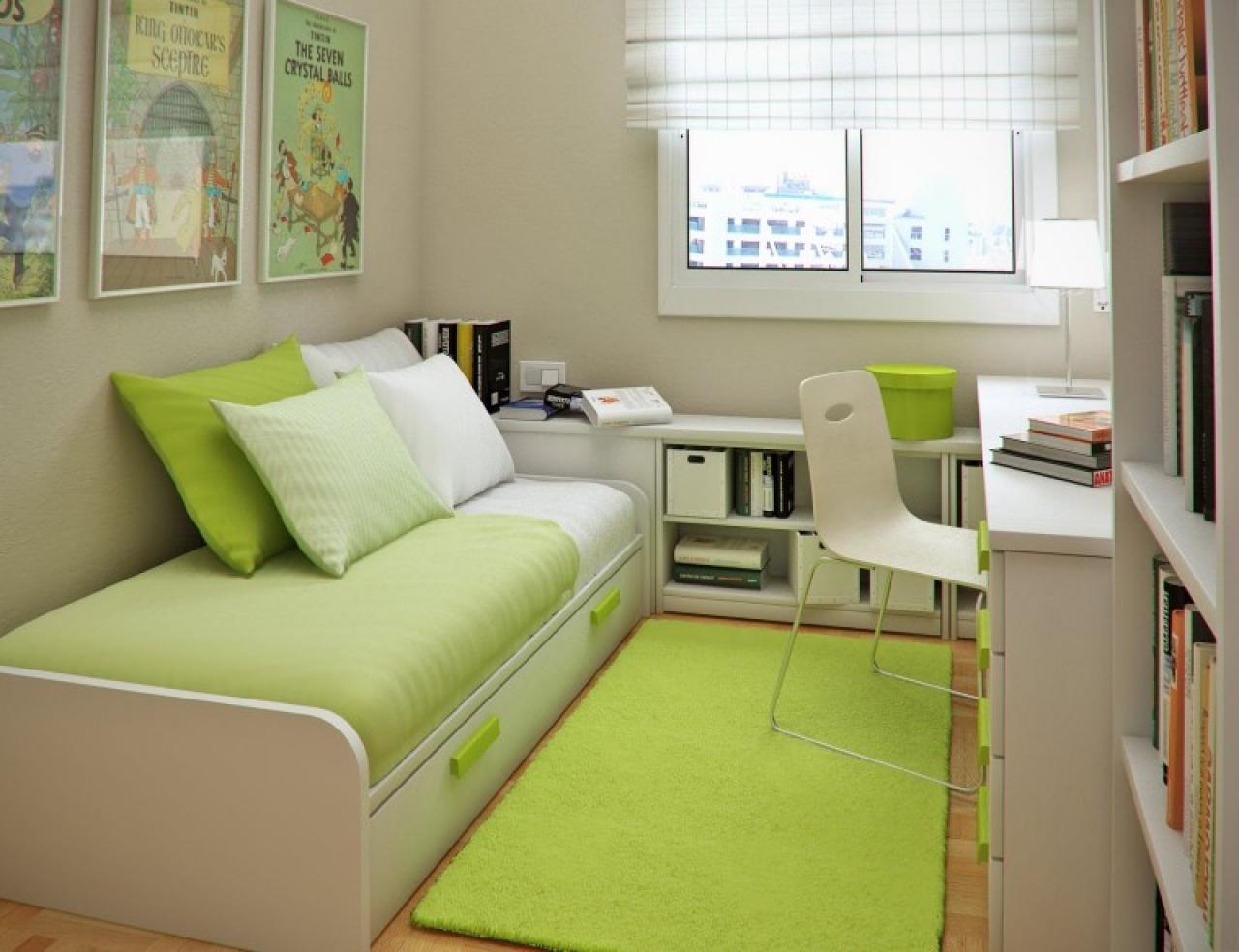 Фото дизайна узкой комнаты для подростка