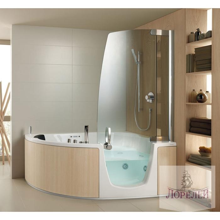 Дизайн ванной комнаты с угловой кабиной