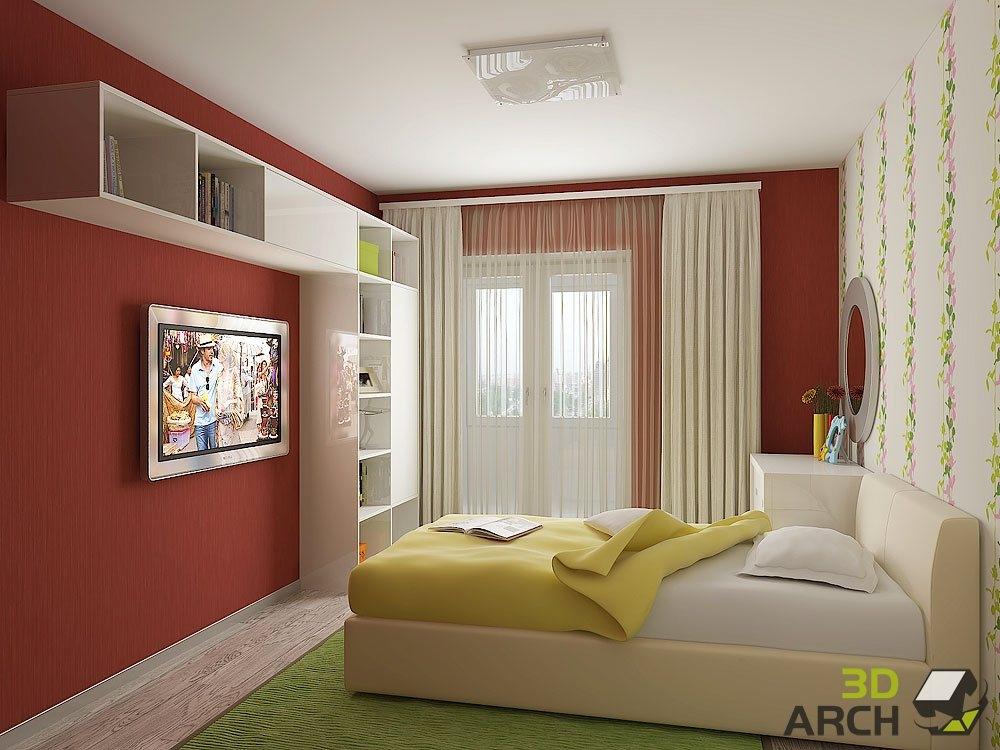 """Интерьер жилой комнаты 9 кв м """" современный дизайн."""