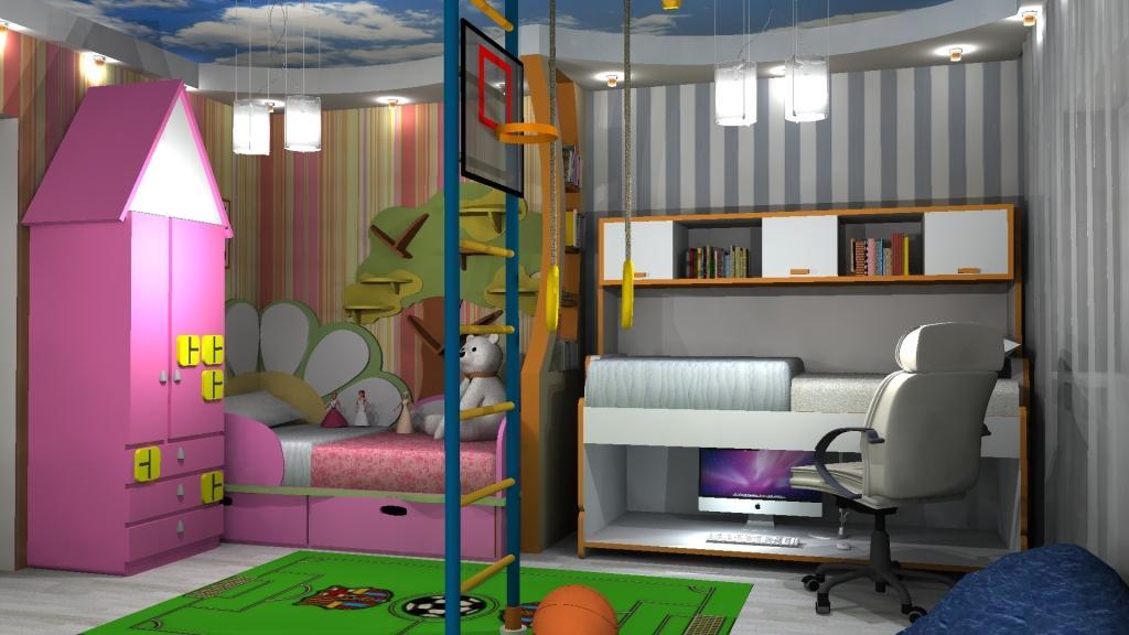 Дизайн комнаты для разнополых детей фото