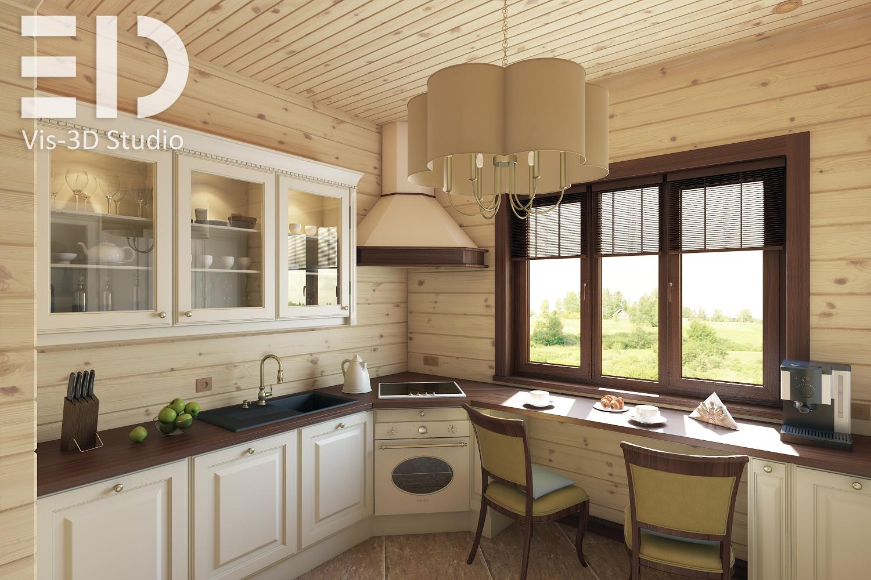 Интерьер кухни в брусовом доме фото