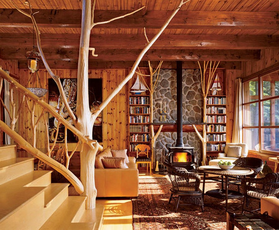 Внутренний интерьер деревянного дома фото