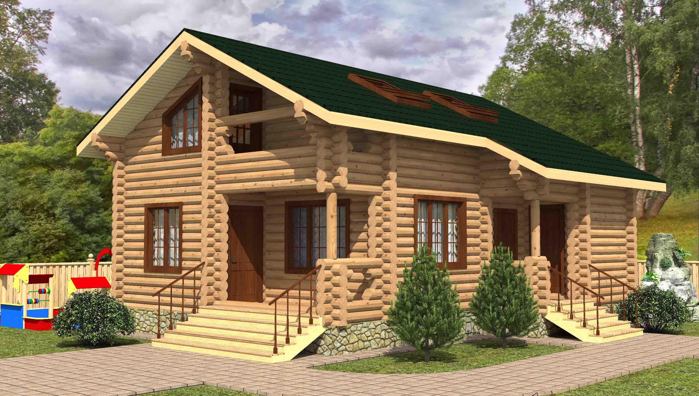 Проекты деревянных домов в два этажа из оцилиндрованного бре.