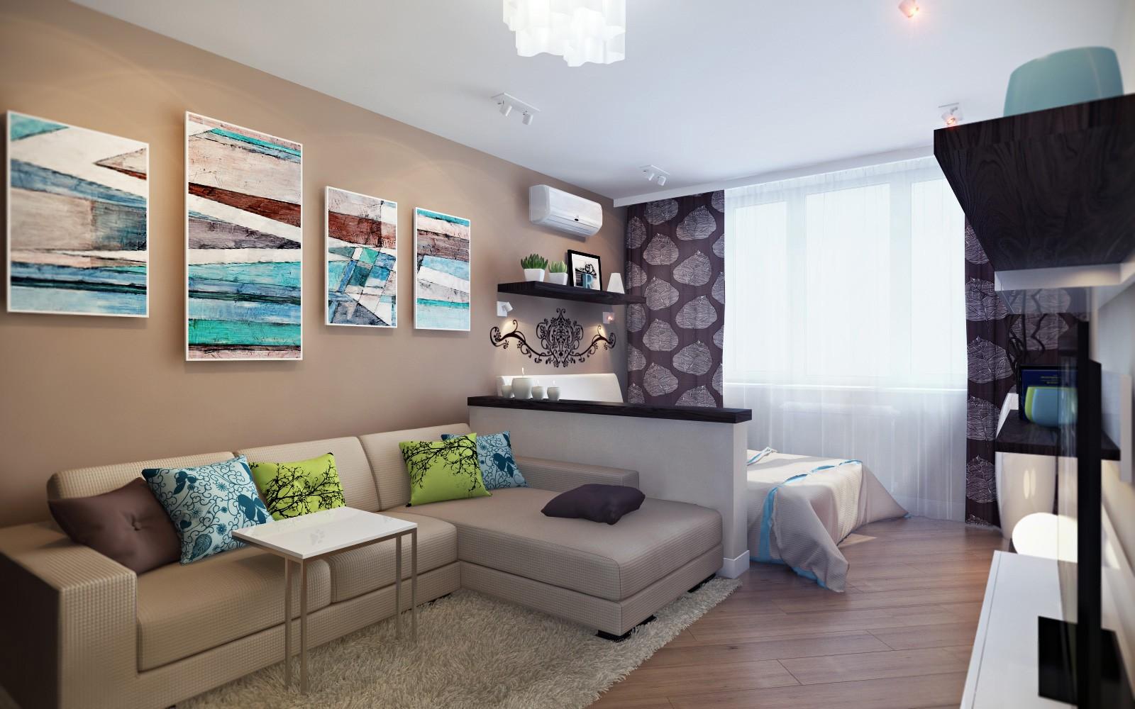 Дизайны квартир 1 комнатных