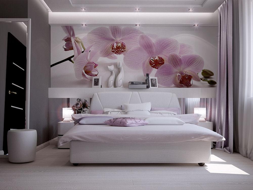 Дизайн спальни серо розовая