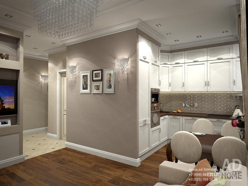 Дизайн двухкомнатной квартиры 55 кв.м