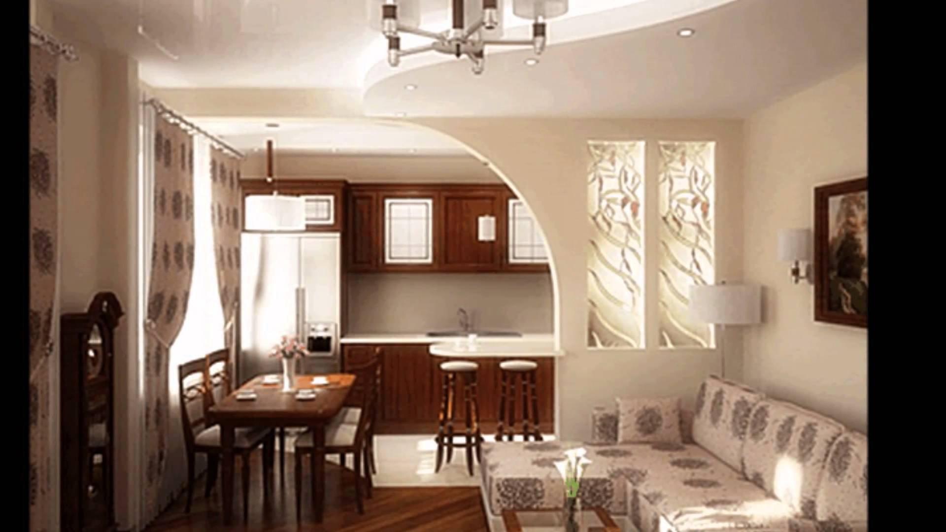 Фото совмещенного зала с кухней дизайн в