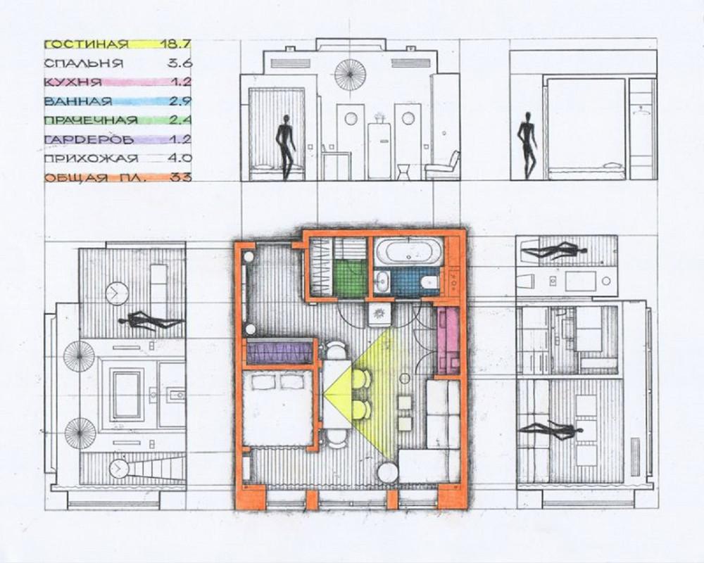 Дизайн квартир студий 33 кв м