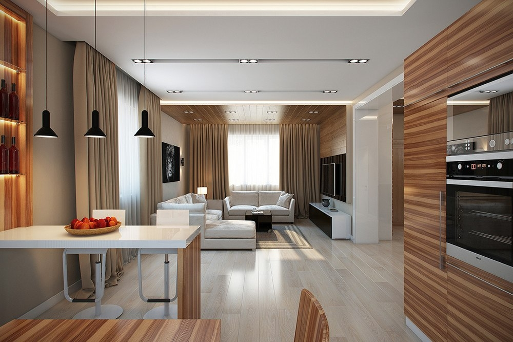 Кухня-гостиная в доме дизайн интерьер