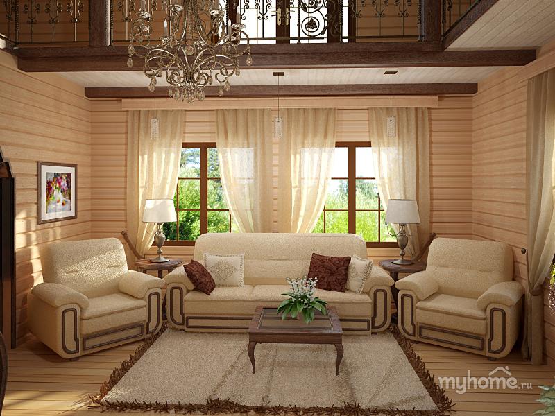 Интерьеры домов из бруса фото