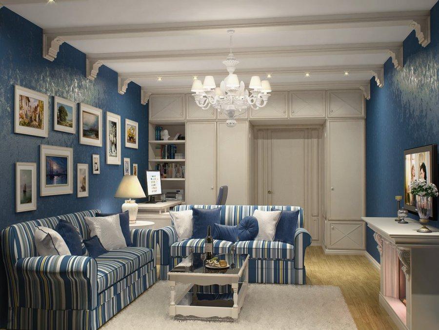 Интерьер зала в синем цвете фото