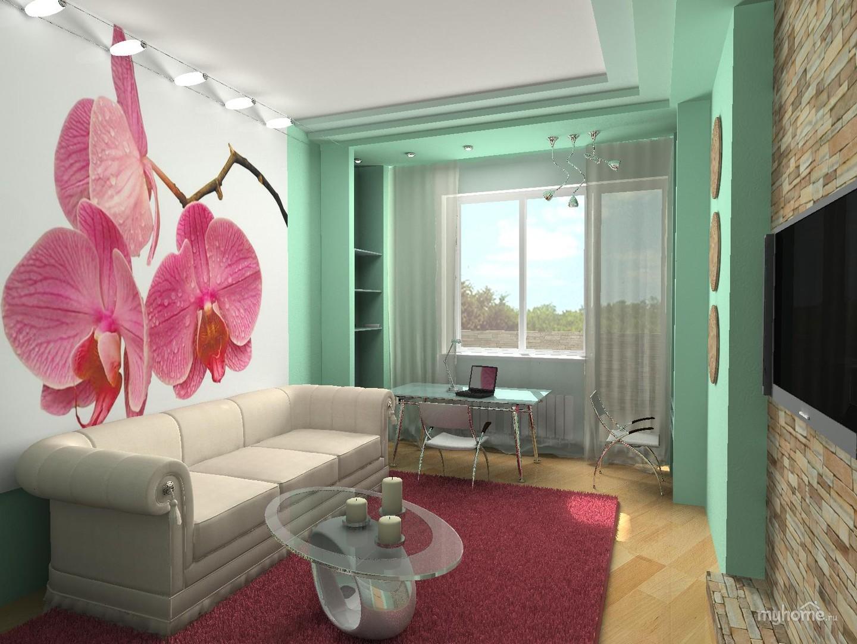 Фото интерьера маленькой комнаты с диваном