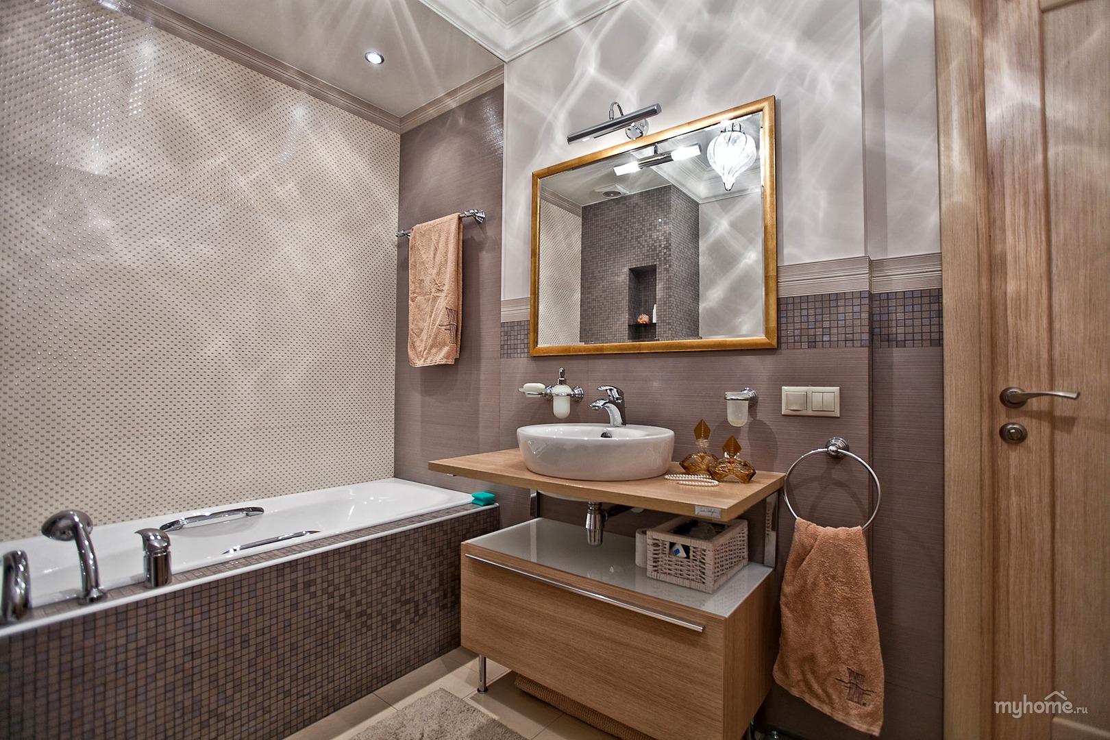 Дизайн ванной комнаты в коричнево бежевых тонах