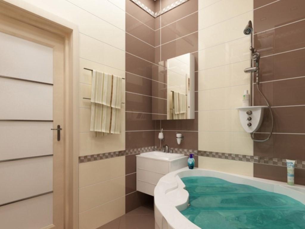 Дизайн плитки в ванной комнате коричневый с бежевым