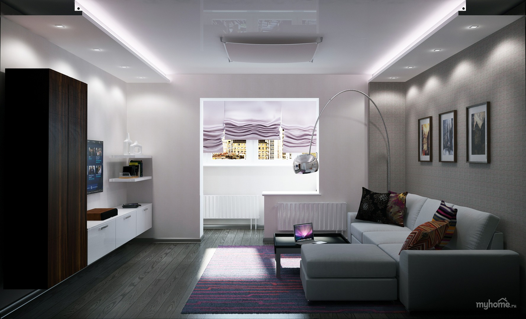Гостиная в стиле хай-тек - фото и дизайн на vivbo.ru.