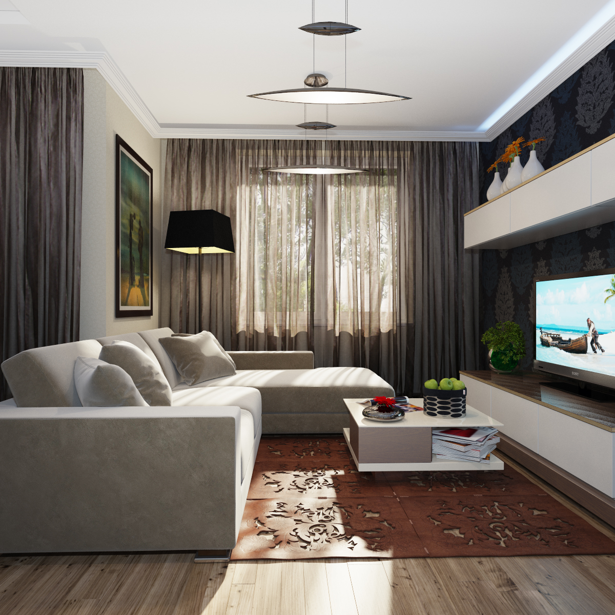 Дизайн гостиной 18 кв.м с двумя окнами