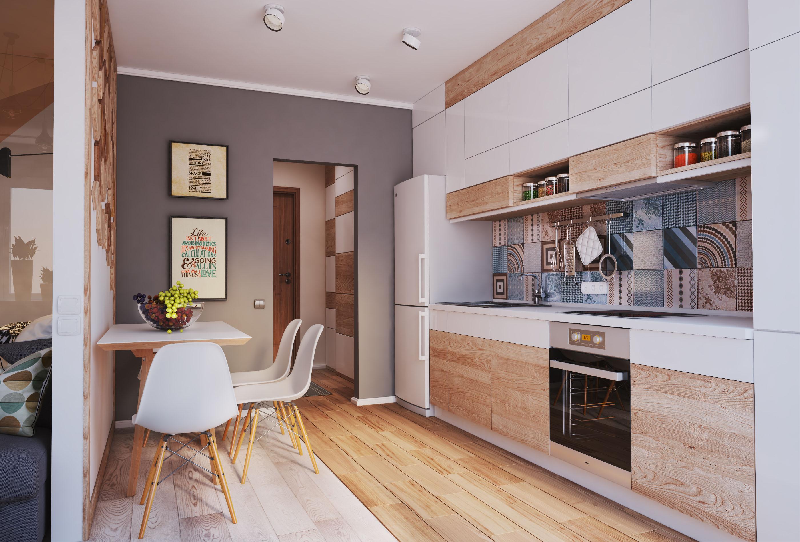 Современный дизайн интерьера кухни гостинной